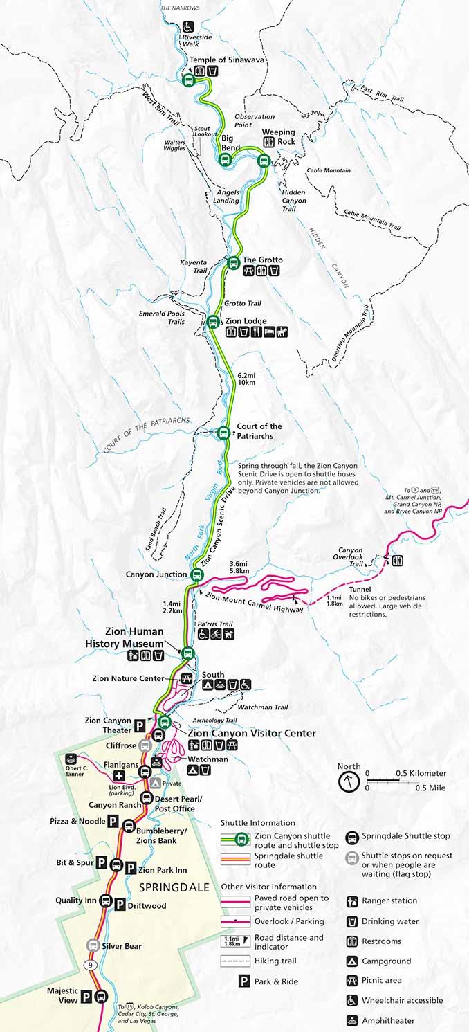 Zion National Park Shuttle Map