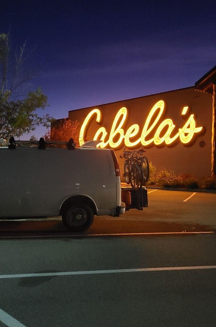 Campervan parked at Cabela's