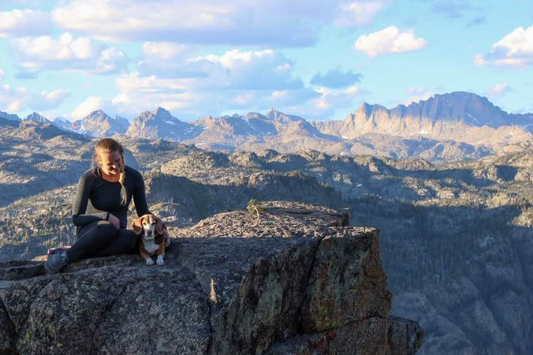 Beagle and owner in Wind River Range