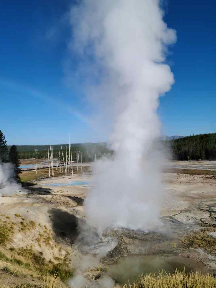 Fumarole in the Porcelain Basin at Yellowstone National Park
