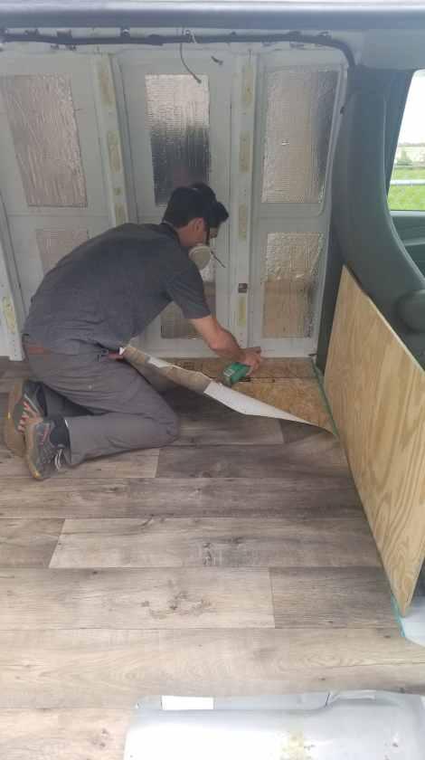 Installing Vinyl Flooring in a Van Build