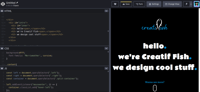 Codepen Front-end web development playground
