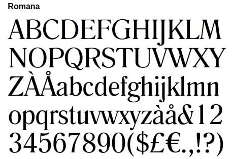 Romana font