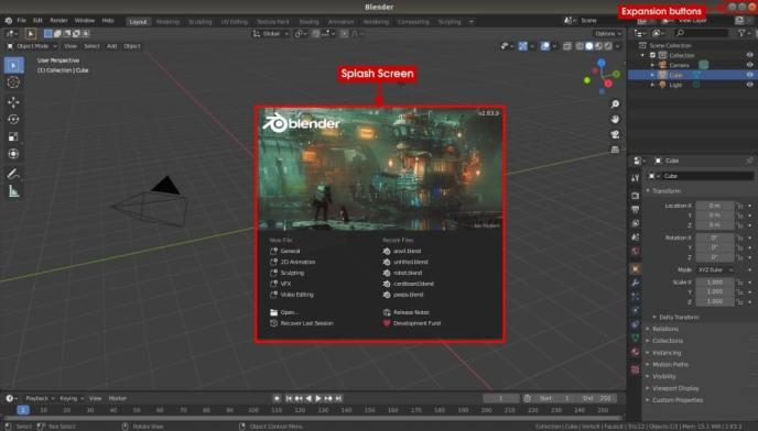 Blender 2.8 startup splash screen