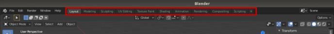 Blender 2.8 workspaces interface