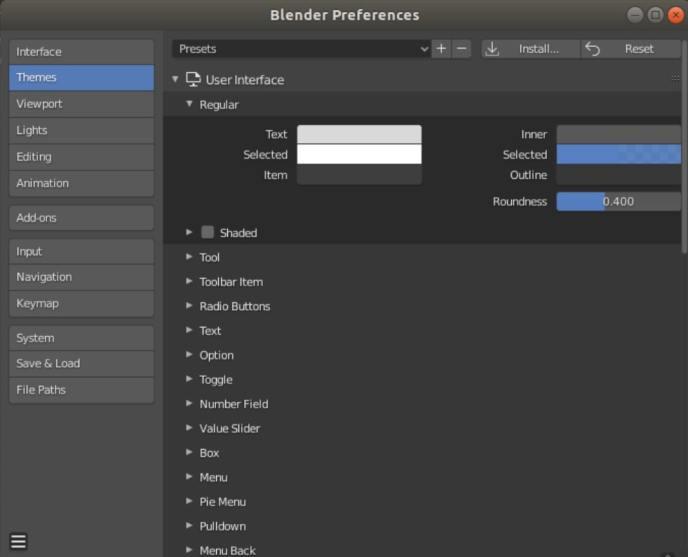 Blender user preferences: change themes interface color