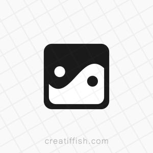 cube square ying and yang logo