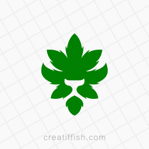 Strong green weed lion logo