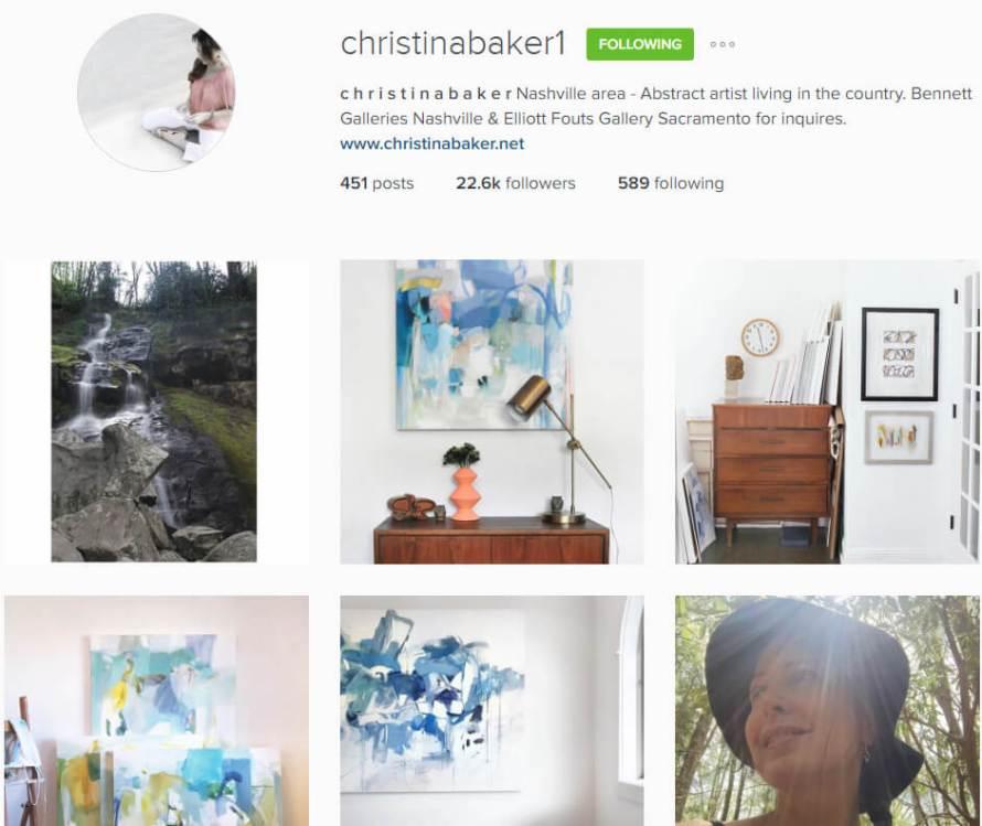 Artist Christina Baker's Instagram bio.
