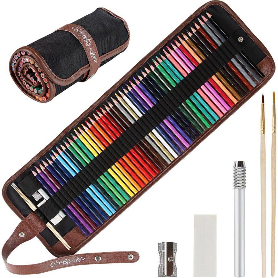 48 Vivid Artist Grade Watercolor Pencils and Case Set