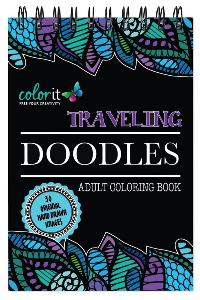 Spiral Bound Traveling Doodles Anti Stress Coloring Book for Adults