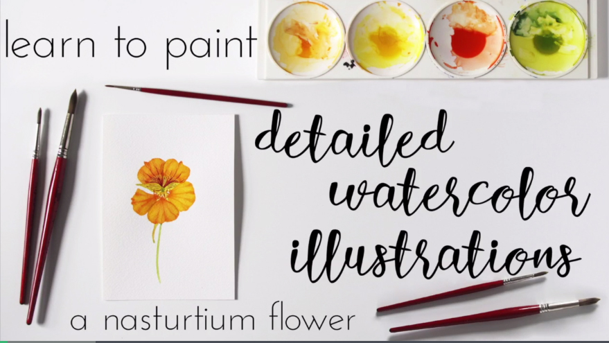CLASS REVIEW: Learn to Paint Detailed Watercolor Illustrations: A Nasturtium Flower by Anne Butera