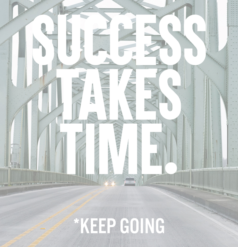 Success Takes Time. *Keep Going. | posivite quotes for creatives on CreatingBeautifully.com