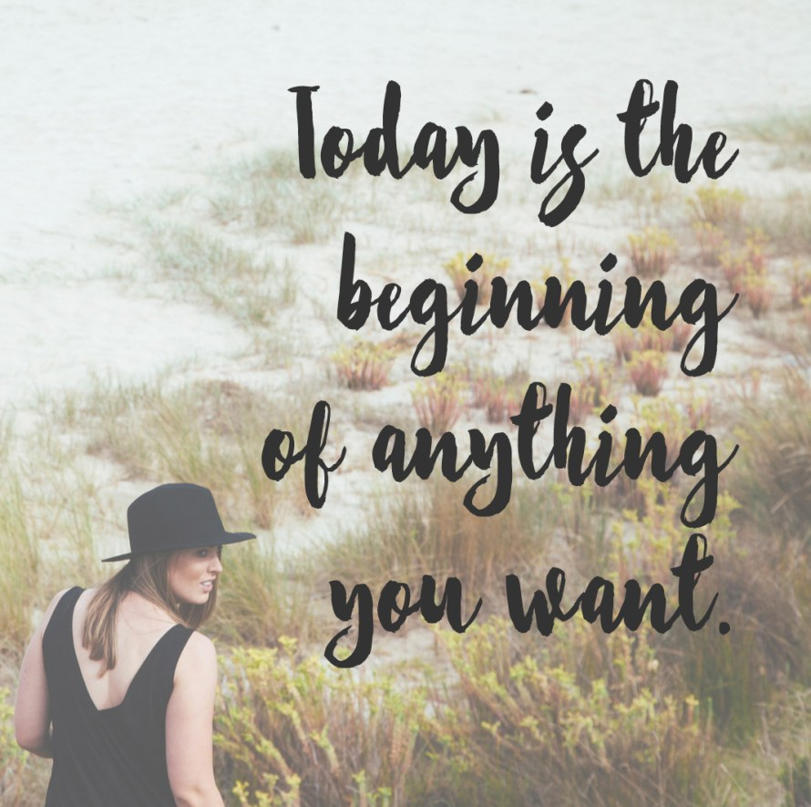 today is the beginning of anything you want | posivite quotes for creatives on CreatingBeautifully.com