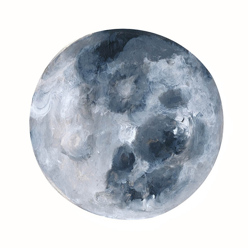 Practice moon in acrylic: an example from Learn How to Paint the Moon Phases by Jules Tillman (take this video class FREE for the next two months!)