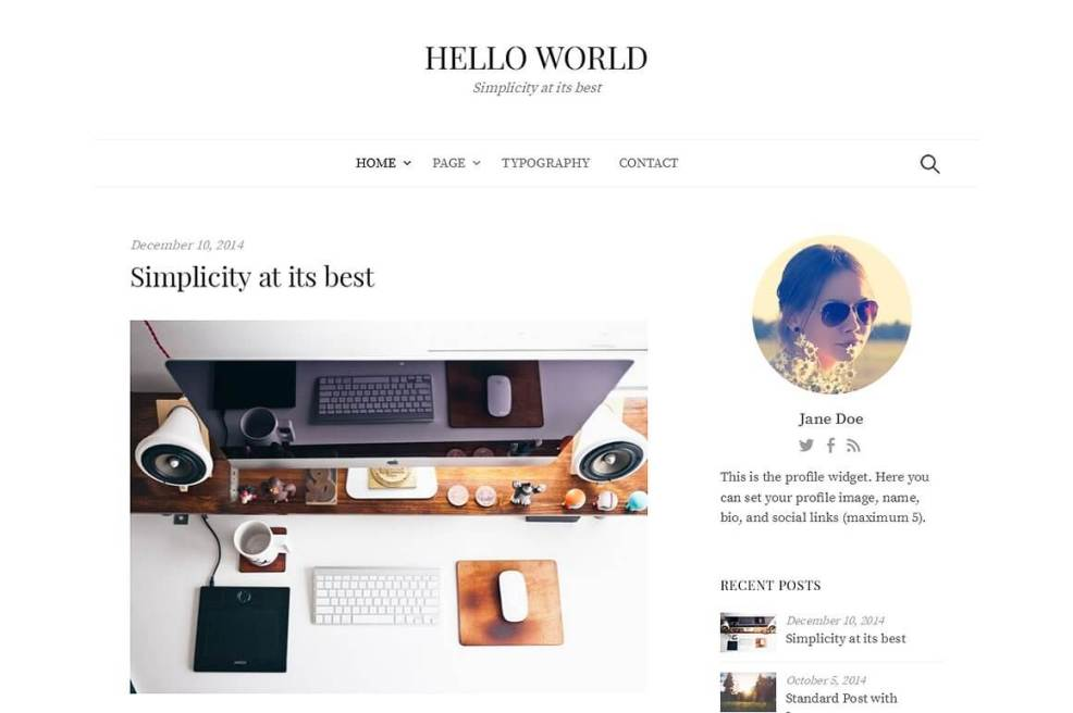 50 Modern, Minimal, Feminine WordPress Blog Themes: Hello World