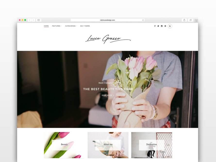 50 Modern, Minimal, Feminine WordPress Blog Themes: Lucie Grasso