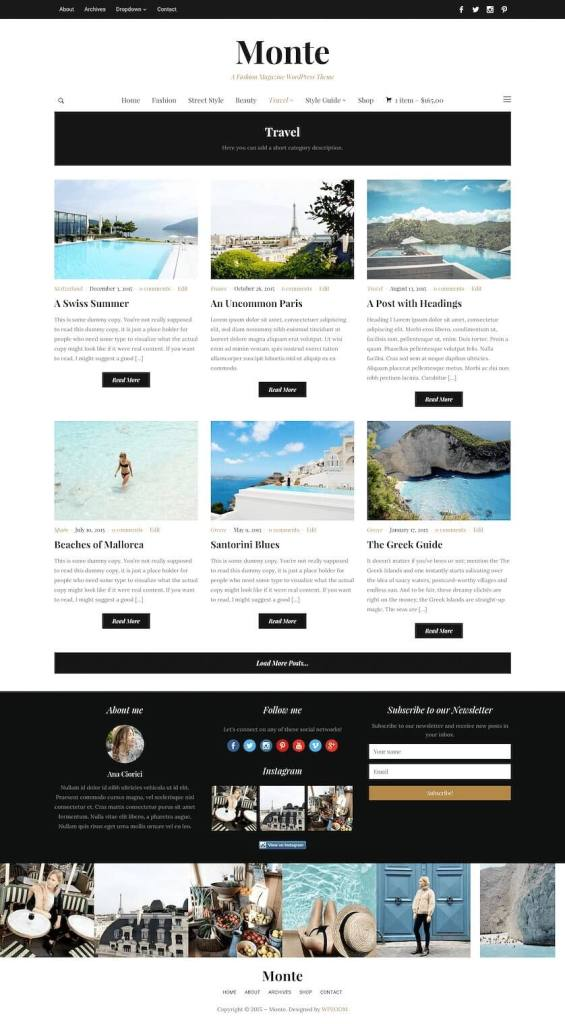 50 Modern, Minimal, Feminine WordPress Blog Themes: Monte