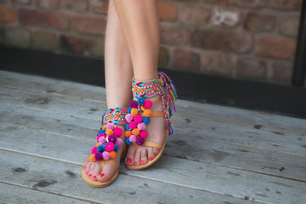 How to Take Better Photos for Your Etsy Shop | Shooting outdoors in the shade is great, too. Like this example from SandalsofLove with their pompom sandals!
