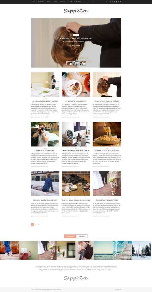 50 Modern, Minimal, Feminine WordPress Blog Themes: Sapphire