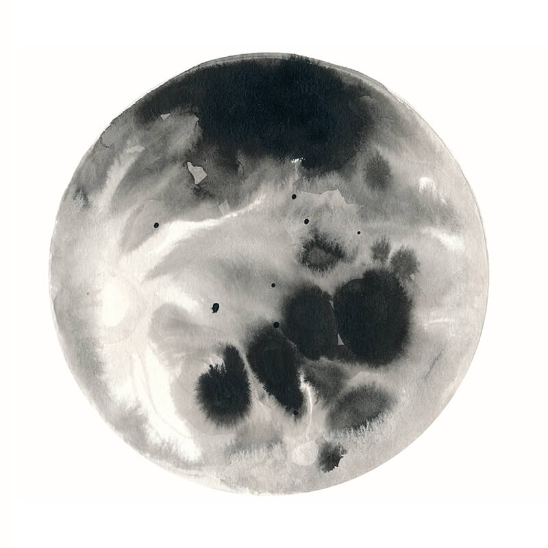 Practice moon in Traditional Chinese Ink: an example from Learn How to Paint the Moon Phases by Jules Tillman (take this video class FREE for the next two months!)