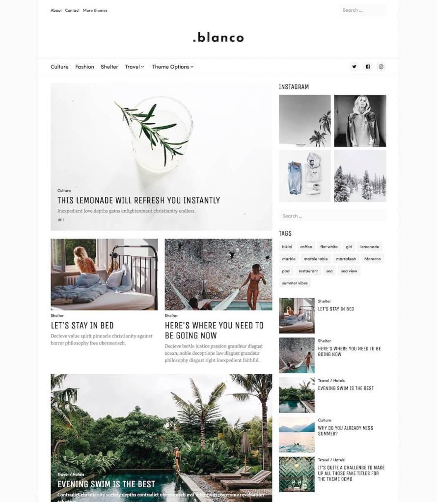 50 Modern, Minimal, Feminine WordPress Blog Themes: Blanco