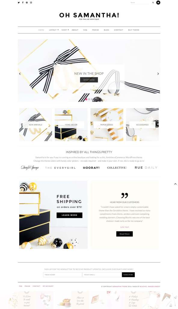 50 Modern, Minimal, Feminine WordPress Blog Themes: Oh Samantha!