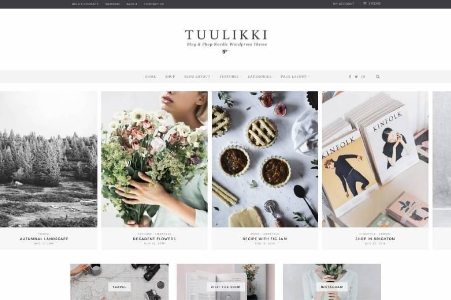 50 Modern, Minimal, Feminine WordPress Blog Themes: Tuulikki