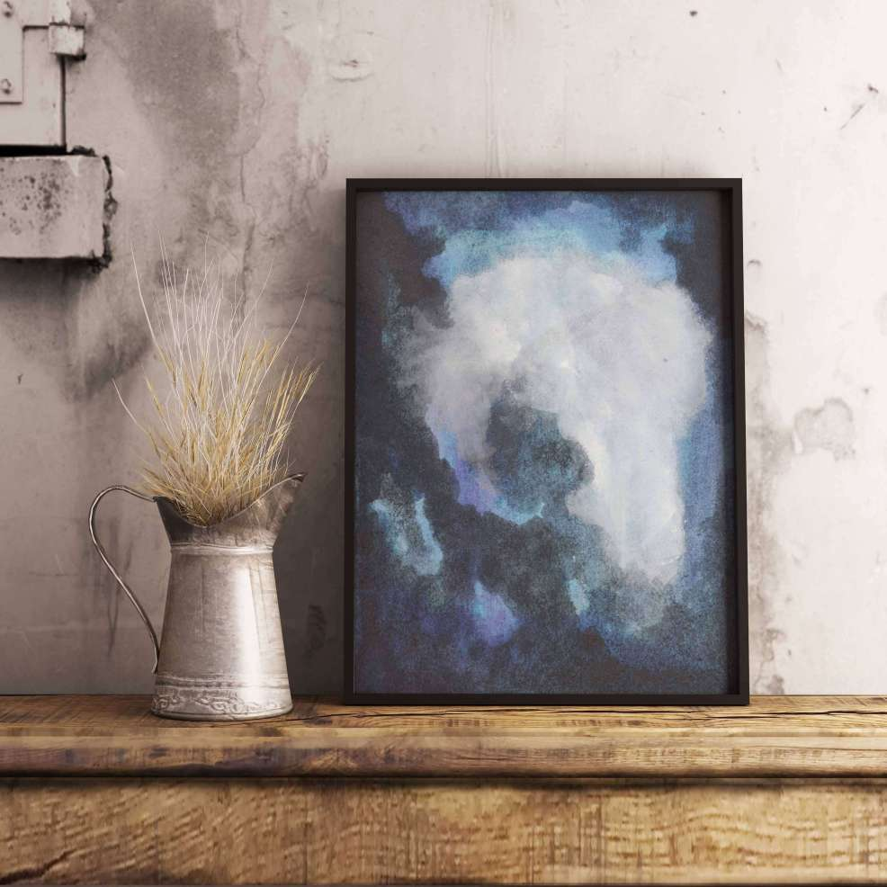 Meet the Artist: Adri Luna Studio on CreatingBeautifully.com - Large Blue Art Print by Adri Luna.