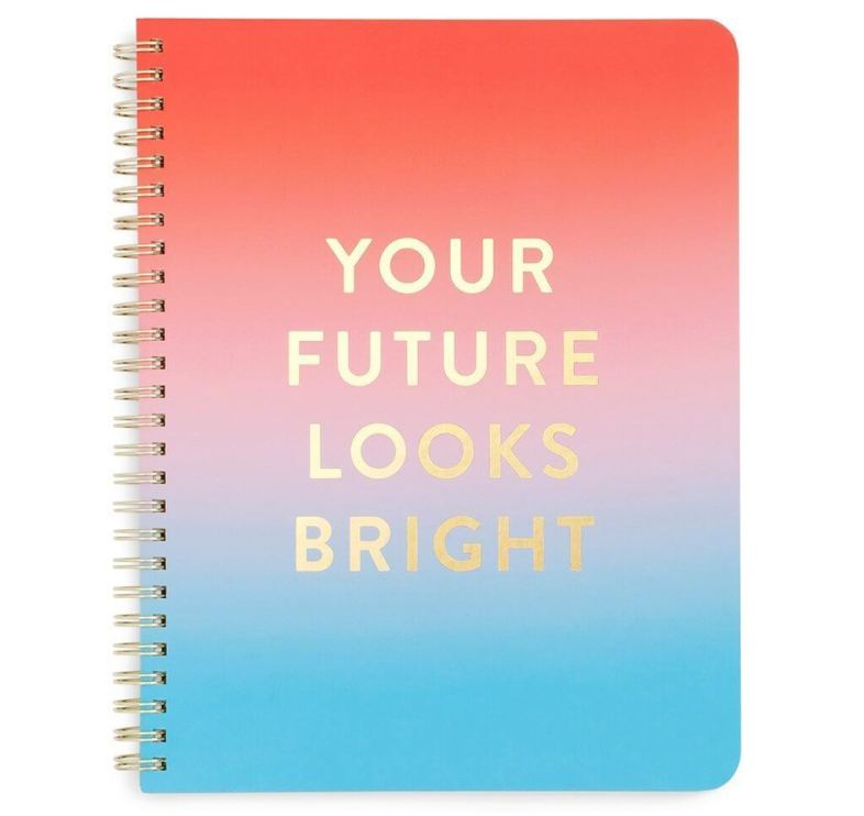 "Send a positive message with this ""Your Future Looks Bright"" Notebook. See more in this Fun Gift Guide for Entrepreneurs at www.CreatingBeautifully.com"