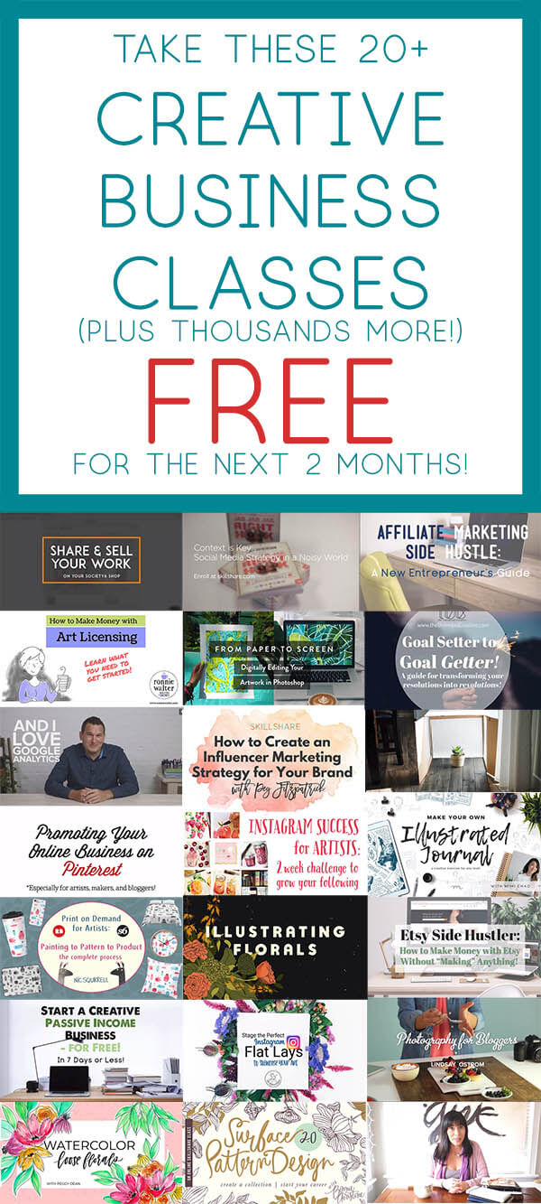 Check out these 20+ Creative Business Classes You Can Take On Skillshare -- free for the next two months!
