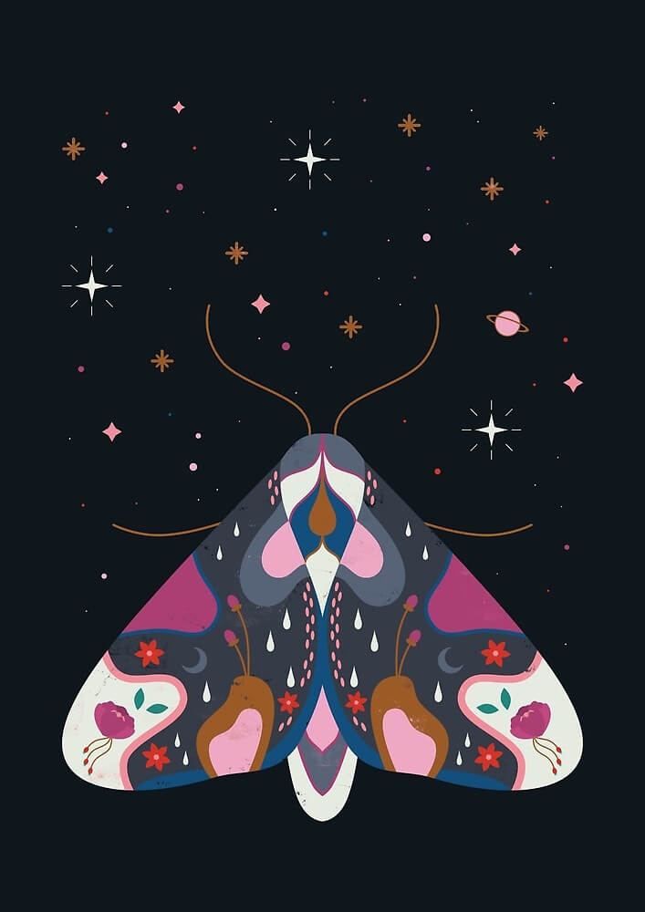 Midnight Moth by Carly Watts - Artists Making Passive Income on RedBubble: Meet Carly Watts on CreatingBeautifully.com