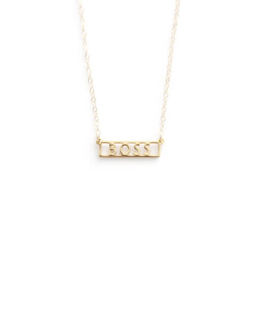 "This gold ""BOSS"" necklace from SeoulLittle is part of the Mother's Day Gifts for Mom Bosses from CreatingBeautifully.com"