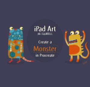 Nic Squirrell's class, iPad Art: Create a Monster - an introduction to Procreate! is just one class in this post that will help you create digital art that sells!