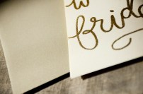 Cream Cardstock with Gold Glitter Embossing, Gold Envelope