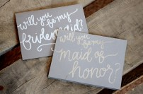 Bridesmaid Bridal Party Invitations by Your New Friend Sam - Gray Cardstock with Silver or White, Maid of Honor and Bridesmaid 1