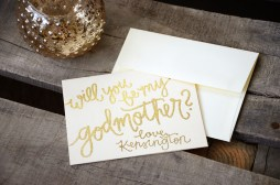 Godmother Invitations by Your New Friend Sam - Cream Cardstock with Personalized Signature Gold Embossing