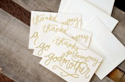 Thanks for Being My Godparents by Your New Friend Sam - Cream Cardstock with Gold Embossing
