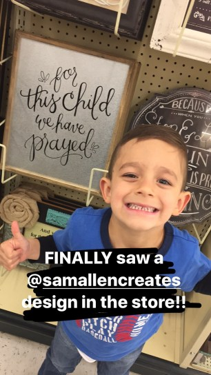 Sam Allen Creates for Hobby Lobby - For This Child We Prayed -Grayson