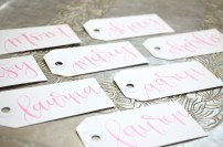 Small White Tags with Pink Ink, Dahlia Lettering Style