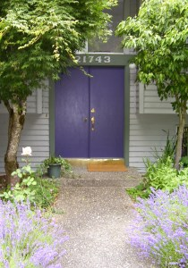 Front door echoes lavender path