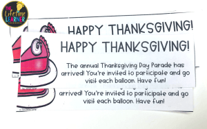 admission ticket that says happy thanksgiving and tells students what we will do today