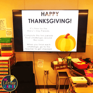 thanksgiving classroom transformation directions on a tv