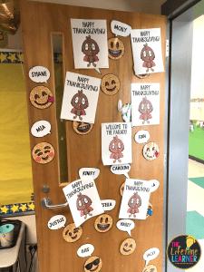 classroom door decorated with turkeys