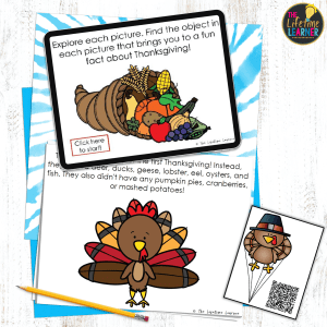 thanksgiving fun facts on paper, a QR code, and digital tablet