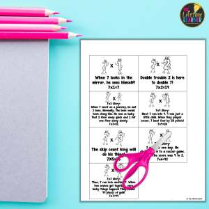 multiplication fact worksheet with scissors and pencils