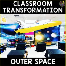 a classroom with space decor for a space classroom transformation