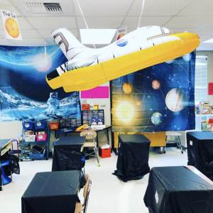 classroom decorated for a space classroom transformation