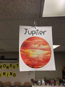 poster of jupiter hanging from the ceiling
