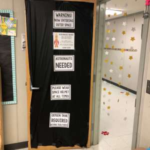 space classroom transformation decor for the door